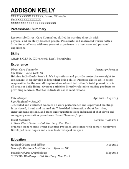 Direct Care Counselor resume format New York