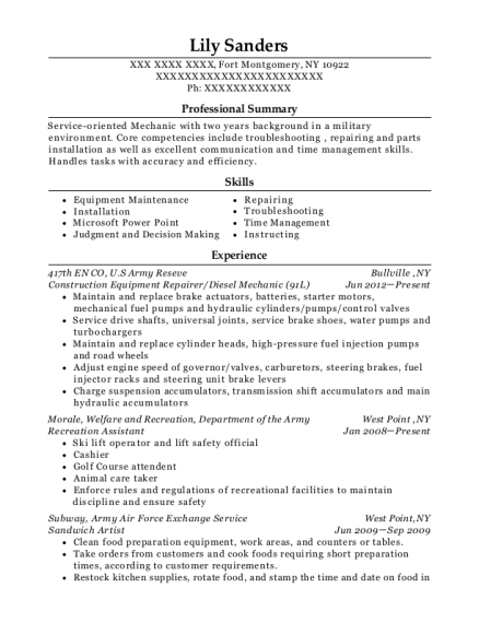 Construction Equipment Repairer resume example New York