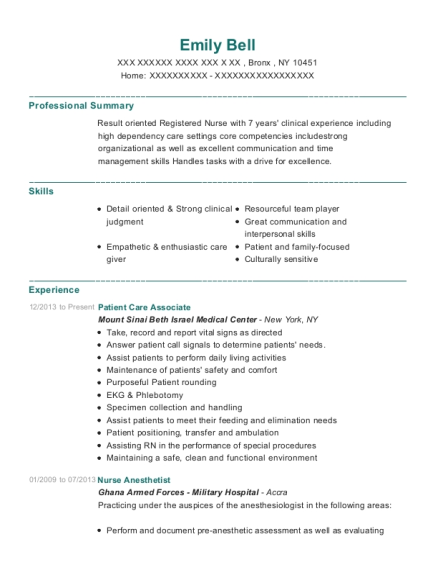 Patient Care Associate resume example New York