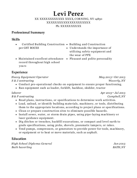 Heavy Equipment Operator resume example New York