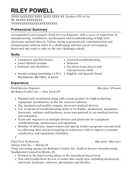 Field Service Engineer resume sample New York