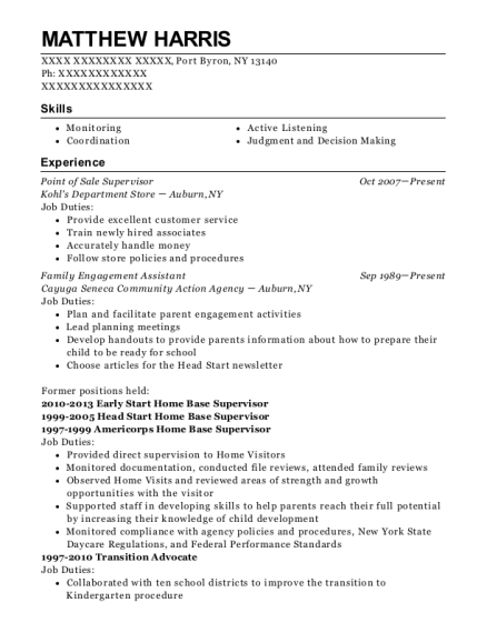 Point of Sale Supervisor resume example New York
