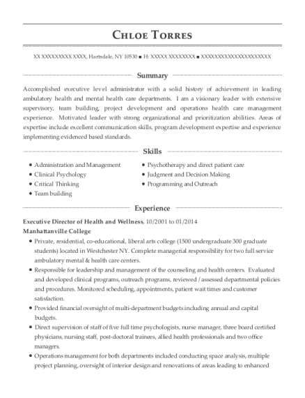 Executive Director of Health and Wellness resume example New York