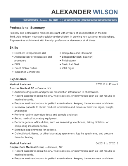 Medical Assistant resume template New York