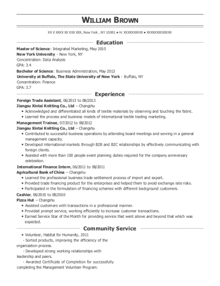 Foreign Trade Assistant resume format New York