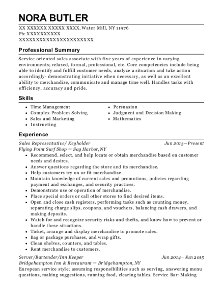 Sales Representative resume template New York