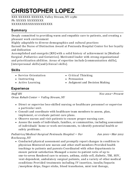 Staff RN resume example New York