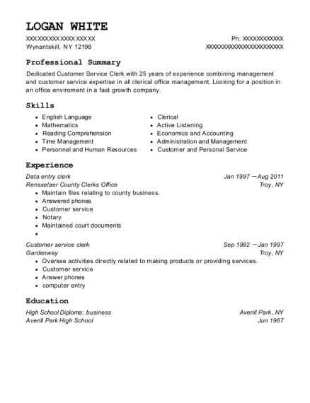 Data Entry Clerk resume example New York