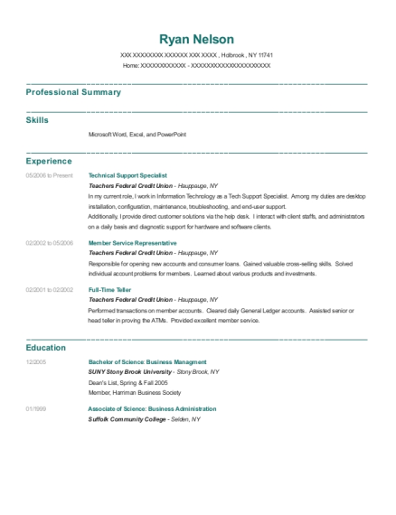 Technical Support Specialist resume sample New York