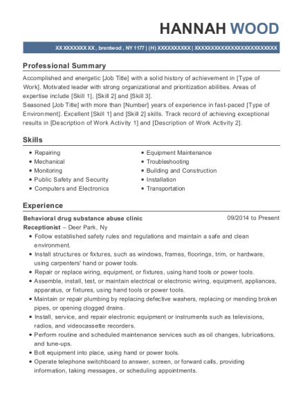 Behavioral drug substance abuse clinic resume template New York