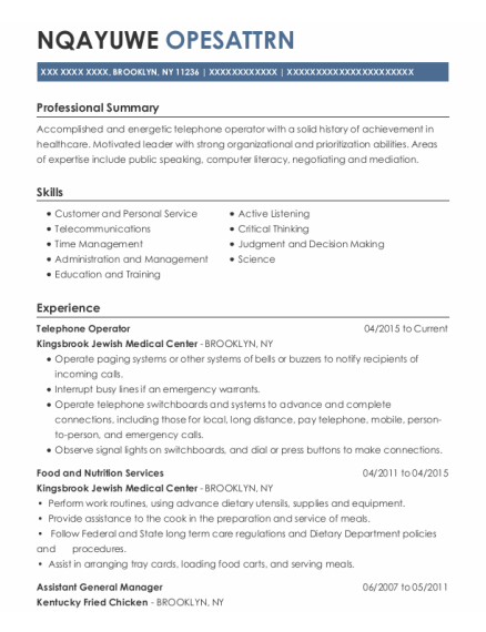 Telephone Operator resume example New York