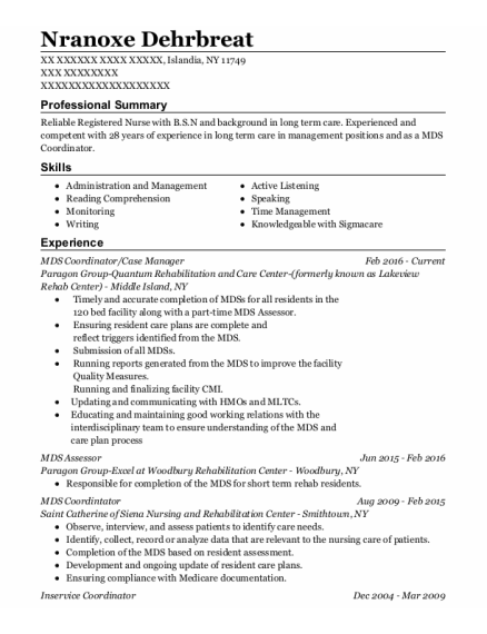 MDS Coordintator resume example New York