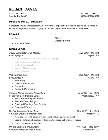 Travel Coordinator resume template New York