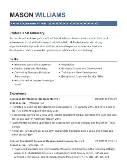 Business Development Representative II resume template New York
