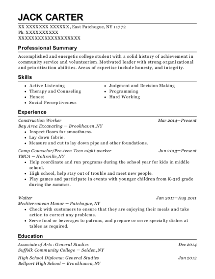 Tradsmen International Construction Worker Resume Sample Resumehelp