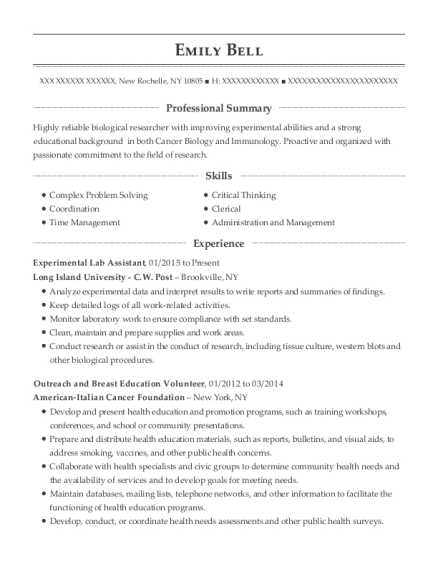Experimental Lab Assistant resume example New York