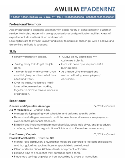 General And Operations Manager resume sample New York