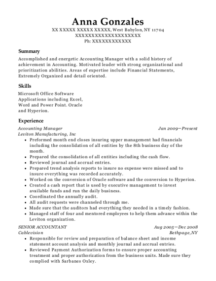 Accounting Manager resume template New York