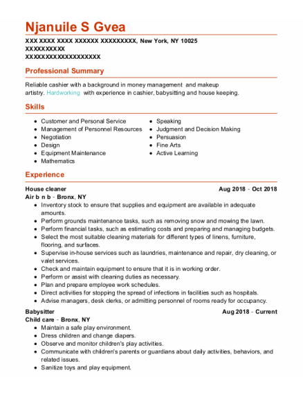 House Cleaner resume template New York