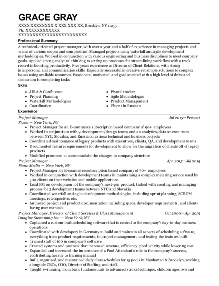 Project Manager resume template New York