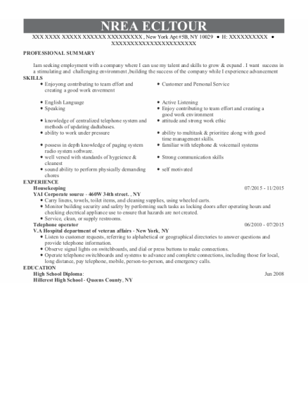 housekeeping resume format New York