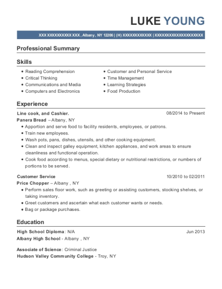 Line cook resume example New York