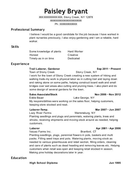 Trail Laborer resume template New York