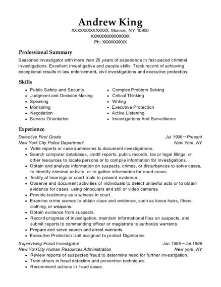 Detective First Grade resume example New York