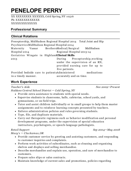 Teachers Aide resume template New York