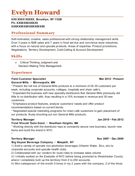 Field Customer Specialist resume example New York