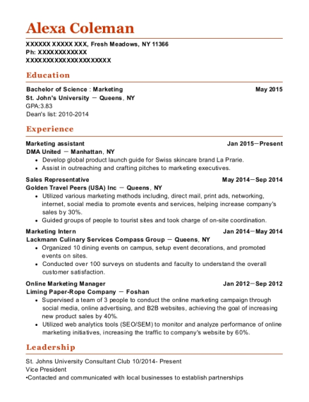 Marketing Assistant resume template New York