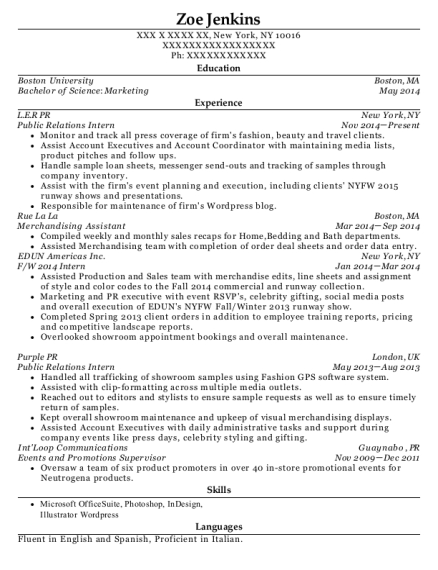 Public Relations Intern resume template New York