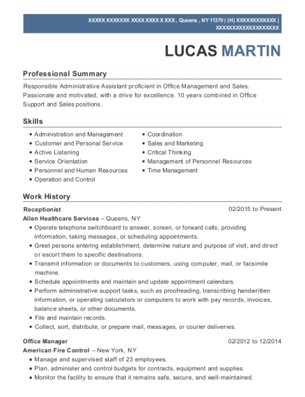 Receptionist resume template New York