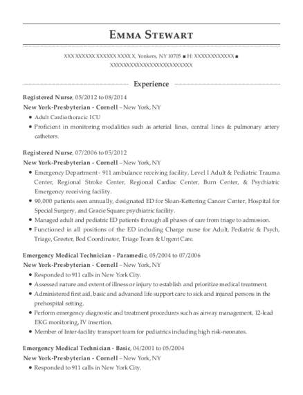 Registered Nurse resume example New York