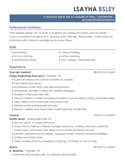 Daycare Assistant resume sample New York