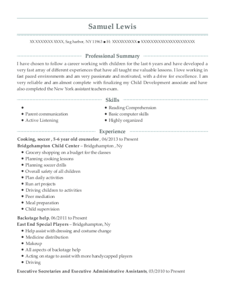 Cooking resume sample New York