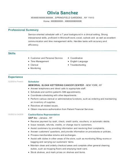 Scheduler resume format New York