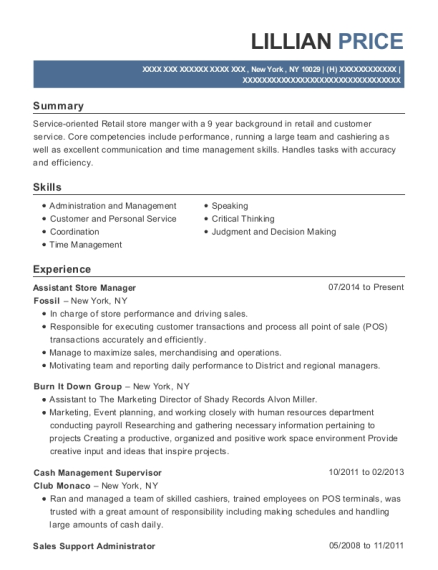 Assistant Store Manager resume format New York
