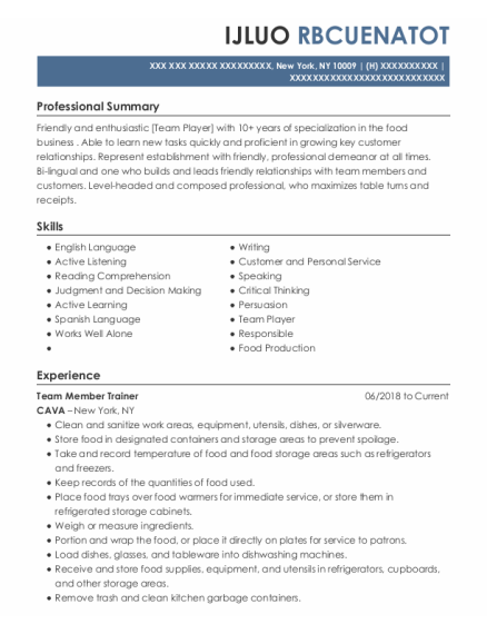 Team Member Trainer resume sample New York