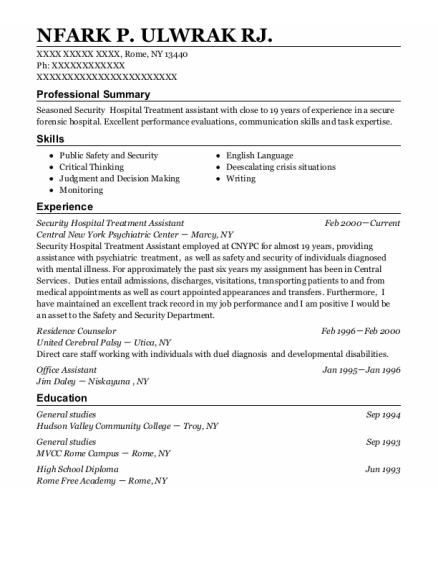Residence Counselor resume format New York