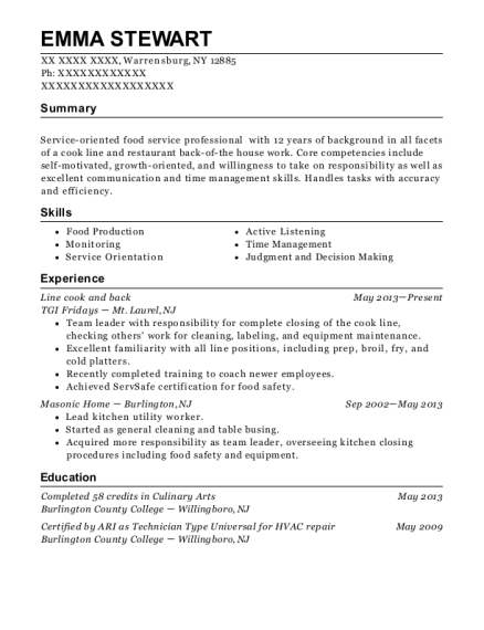 Line cook and back resume format New York