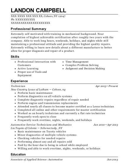 Technician resume sample New York