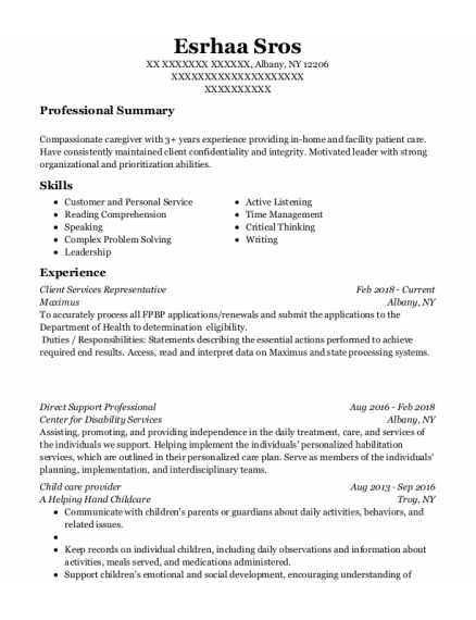 Client Services Representative resume template New York