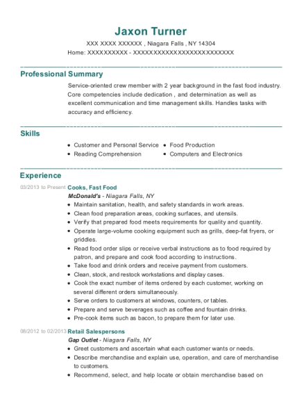 Cooks resume example New York
