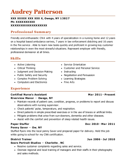 Certified Nurses Assistant resume format New York