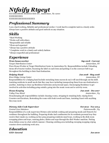 Ware House Worker resume format New York