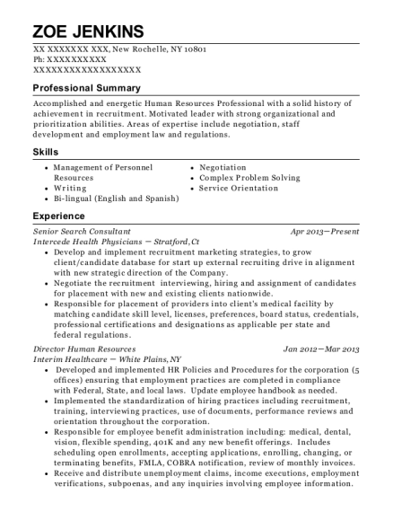 Senior Search Consultant resume sample New York