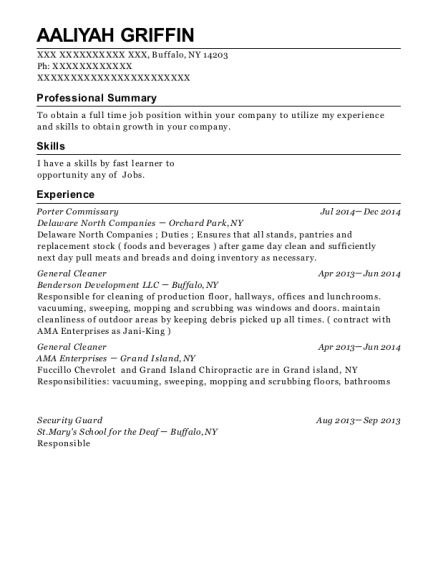 Porter Commissary resume format New York