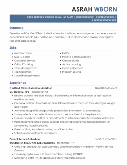 Certified Clinical Medical Assistant resume format New York
