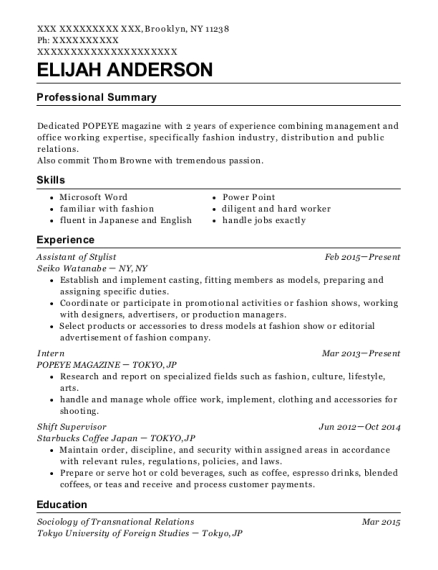 Assistant of Stylist resume format New York